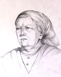 Frau, Bäuerin, Portrait, Zeichnung