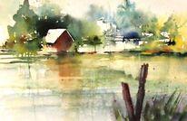 See, Hütte, Landschaft, Aquarell