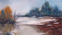 Landschaft, Schnee, Aquarellmalerei, Überschwemmung