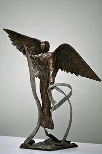 Skulptur, Objekt, Bronze, Engel