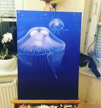 Blau, Ölmalerei, Qualle, Maritim