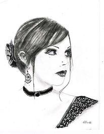 Portrait gothic, Zeichnungen, Rose