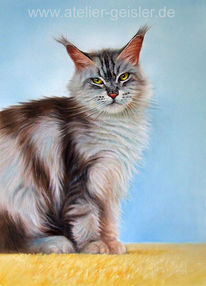 Katzenportrait, Katze, Malerei