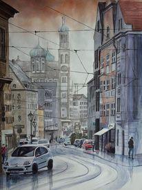 Rathaus, Aquarellmalerei, Regen, Verkehr