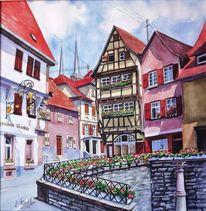 Landschaft, Aquarellmalerei, Bad wimpfen, Neckar