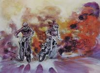 Aquarellmalerei, Laut, Sport, Motorrad
