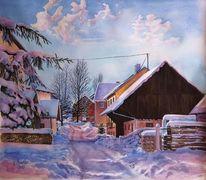 Farben, Licht, Dorf, Aquarellmalerei