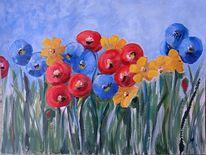 Landschaft, Blumen, Blumenwiese, Naive kunst