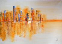 Gold, Skyline, Spiegelung, Malerei