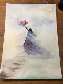 Luftballon, Frau, Wind, Luft