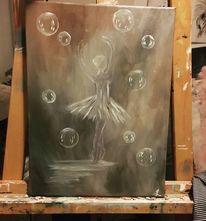 Seifenblasen, Ballerina, Ölmalerei, Malerei