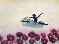 Frau, Blumen, Schweben, Wind