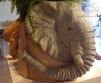 Groß, Skulptur, Löwe, Elefant