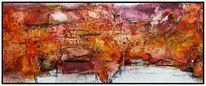Abstrakt, Sumpfkalk, Marmormehl, Aquarellmalerei