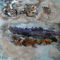 Schellack, Ölmalerei, Malpappe, Abstrakt