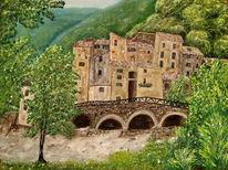 Ölmalerei, Spachteltechnik, Landschaft, Malerei
