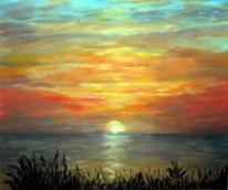 Ölmalerei, Landschaft, Malerei, Sonnenuntergang