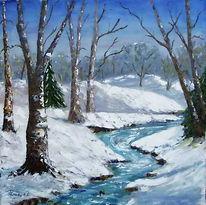 Winterlandschaft, Landschaft, Malerei,