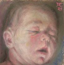 Baby, Schlaf, Dunkel, Malerei