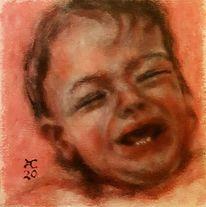 Baby, Schreiend, Rot, Malerei