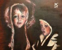 Dunkel, Licht, Kinder, Malerei
