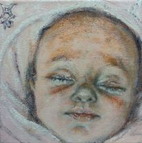 Schlaf, Baby, Lächelnd, Malerei