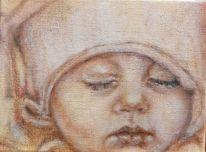 Kind, Schlaf, Mütze, Malerei
