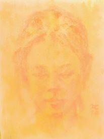 Blick, Orange, Erscheinung, Frau