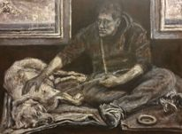 Bettler, Hund, Decke, Malerei
