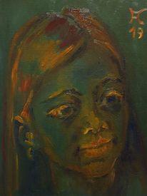 Grün, Mädchen, Orange, Malerei