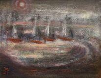 Mond, Wasser, Nacht, Boot