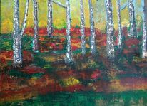 Ölmalerei, Birken, Landschaft, Hochmoor