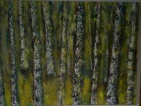 Birken, Acrylmalerei, Wald, Pigmente