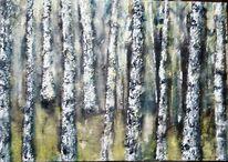 Acrylmalerei, Marmormehl, Baum, Frühling