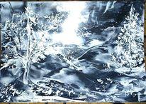 Enkaustik, Landschaft, Wachs, Winter