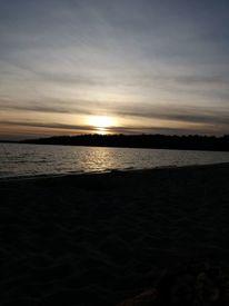 Abends am see, Sonnenschein, Strand, Sonnenuntergang