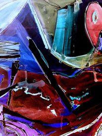 Rot schwarz, Bruchstück, Mosaik, Blau