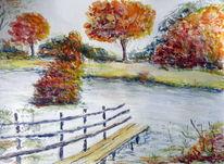 Wasser, Steg, Herbst, Aquarellmalerei