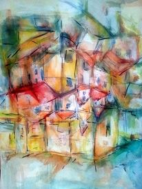Süden, Abstrakt, Aquarellmalerei, Häuser