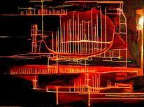 Rot, Strich, Ölmalerei, Abstrakt