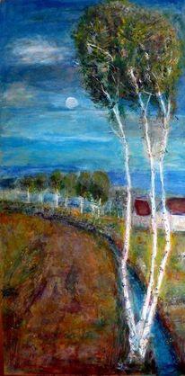 Stimmung, Mond, Baum, Landschaft