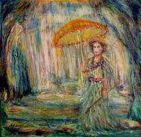 Wasser, Stehen, Regen, Frau