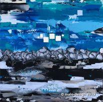 Weiß, Abstrakt, Blau, Silber