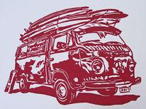 Lino0l cut, Hochdruck, Linolschnitt, Surfen