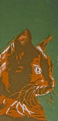 Katze, Linoldruck, Hochdruck, Druckgrafik