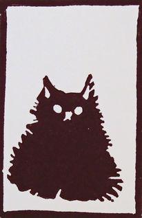 Katze, Linolschnitt, Hochdruck, Linoldruck