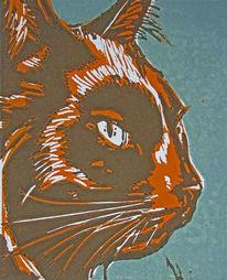 Katze, Farblinolschnitt, Linoldruck, Hochdruck