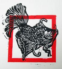 Linoldruck, Hochdruck, Fisch, Linolcut