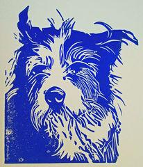 Blockprint, Hund, Linoldruck, Hochdruck
