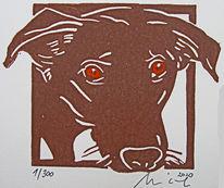 Hund, Linoldruck, Hochdruck, Druckgrafik